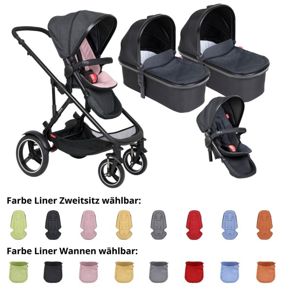 PHIL AND TEDS Voyager buggy V6 blush double mit zwei Wannen