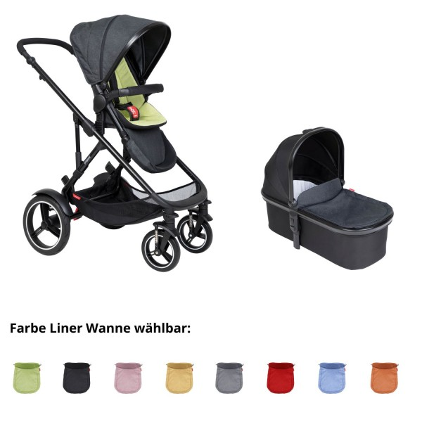 PHIL AND TEDS Voyager buggy V6 apple mit einer Wanne