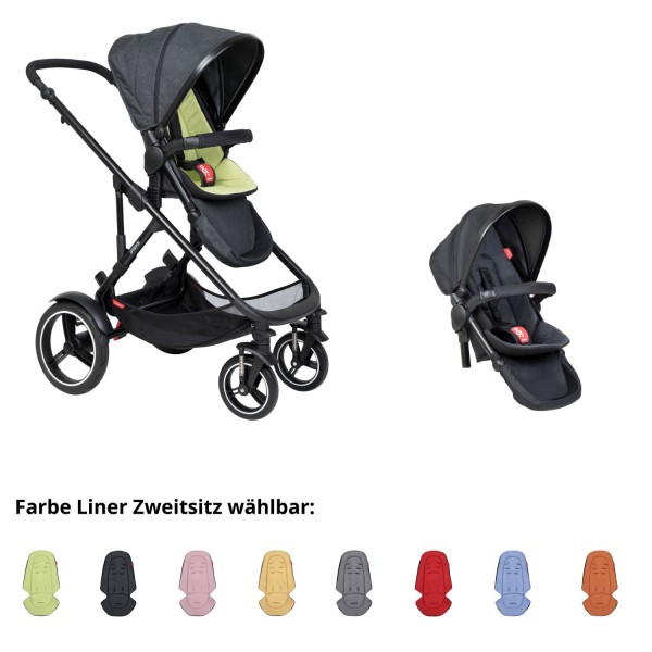 PHIL AND TEDS Voyager buggy V6 apple double mit Zweitsitz