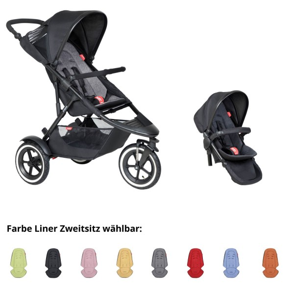 PHIL AND TEDS Sport Buggy charcoal mit Zweitsitz