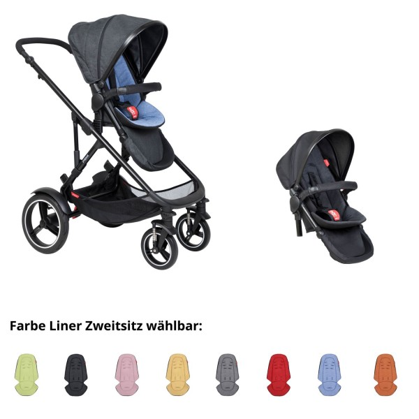PHIL AND TEDS Voyager buggy V6 sky double mit Zweitsitz