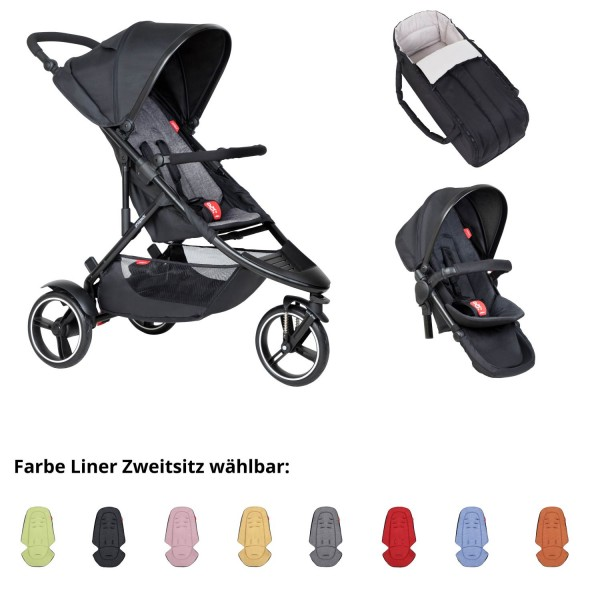 PHIL AND TEDS Dot buggy V6 charcoal mit Cocoon mit Zweitstiz