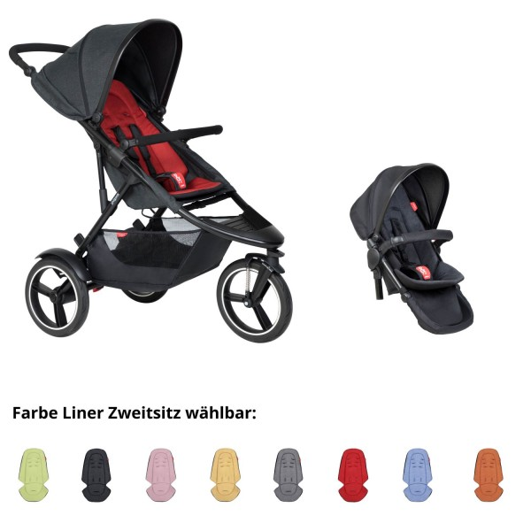 PHIL AND TEDS Dash buggy V6 chilli mit Zweitsitz