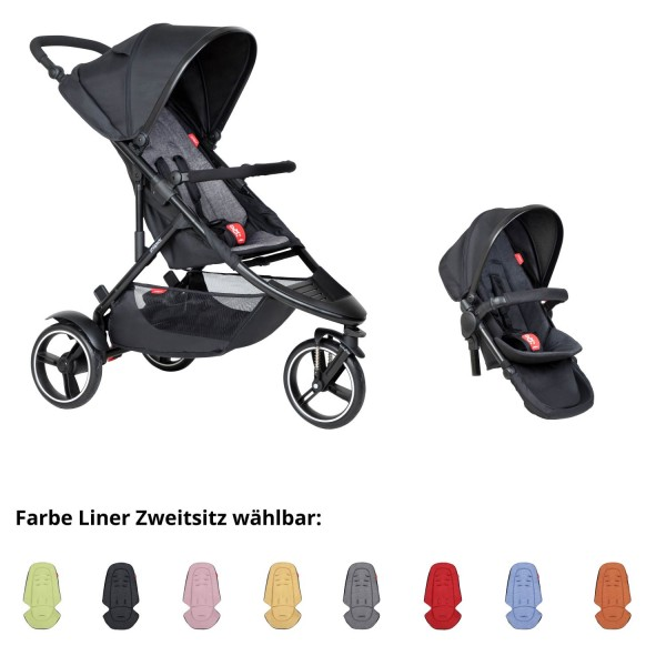PHIL AND TEDS Dot buggy V6 charcoal mit Zweitstiz