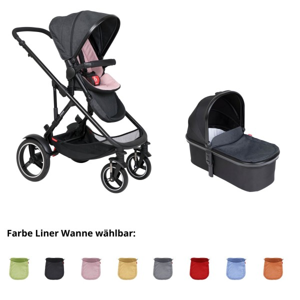 PHIL AND TEDS Voyager buggy V6 blush mit einer Wanne