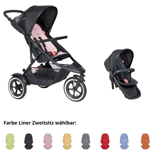 PHIL AND TEDS Sport Buggy blush mit Zweitsitz