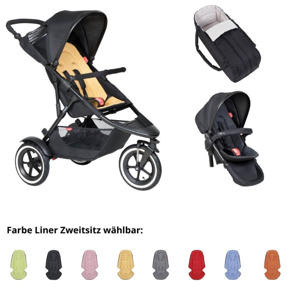 PHIL AND TEDS Sport Buggy butterscotch mit Cocoon und Zweitsitz