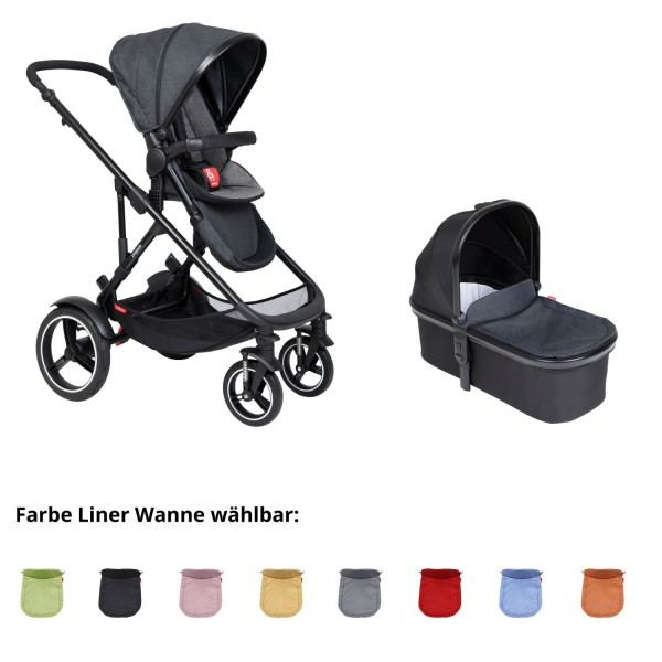 PHIL AND TEDS Voyager buggy V6 charcoal mit einer Wanne