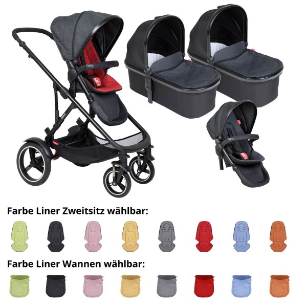 PHIL AND TEDS Voyager buggy V6 chilli double mit zwei Wannen