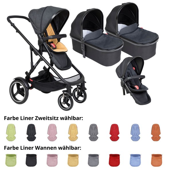 PHIL AND TEDS Voyager buggy V6 butterscotch double mit zwei Wannen