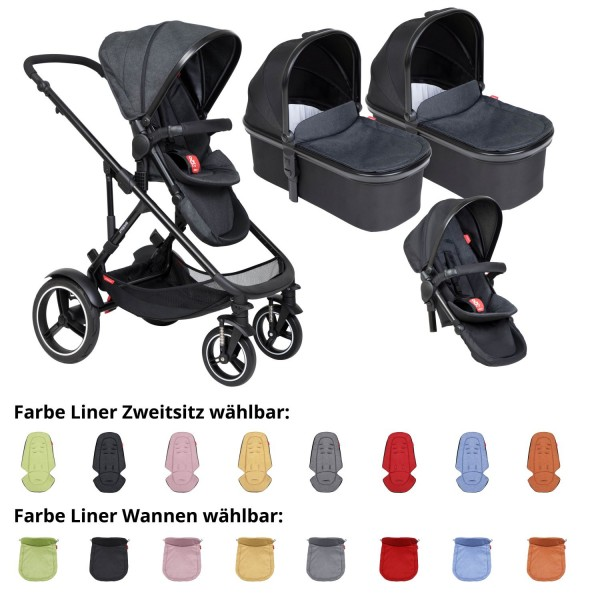 PHIL AND TEDS Voyager buggy V6 black double mit zwei Wannen