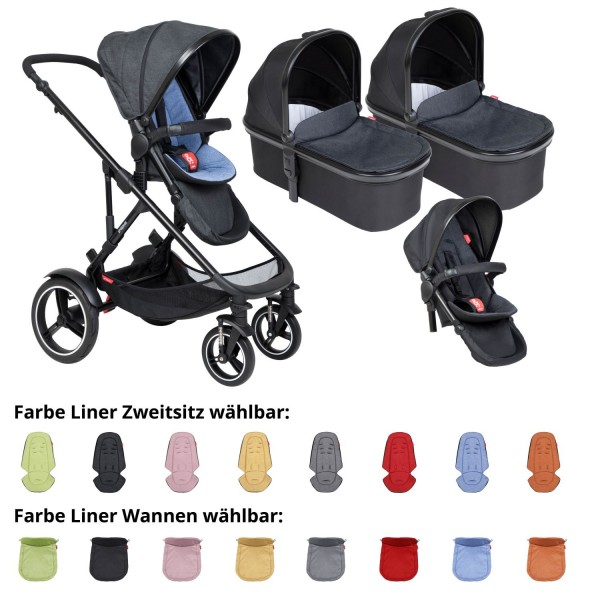 PHIL AND TEDS Voyager buggy V6 sky double mit zwei Wannen