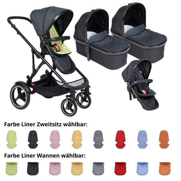PHIL AND TEDS Voyager buggy V6 apple double mit zwei Wannen