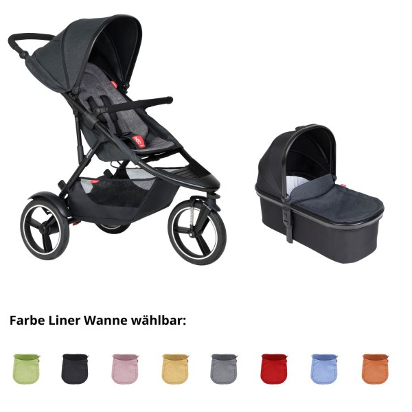 PHIL AND TEDS Dash buggy V6 charcoal mit Wanne