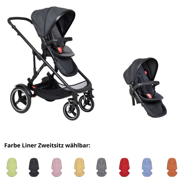 PHIL AND TEDS Voyager buggy V6 charcoal double mit Zweitsitz