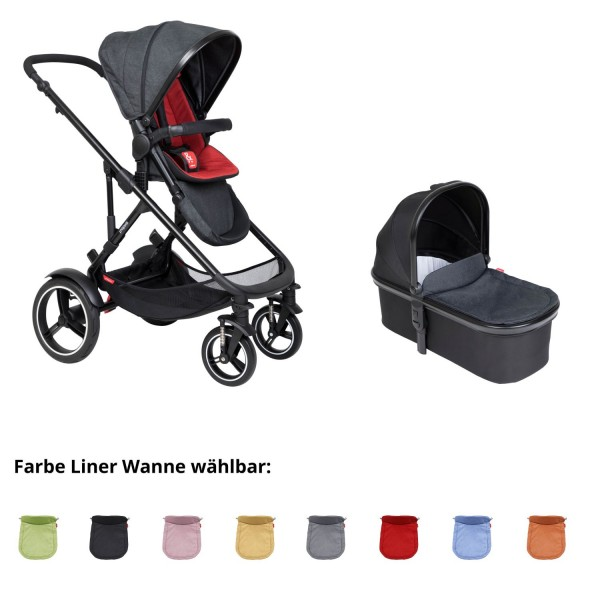 PHIL AND TEDS Voyager buggy V6 chilli mit einer Wanne