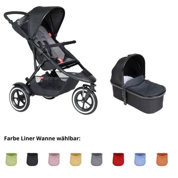 PHIL AND TEDS Sport Buggy V6 charcoal mit Wanne