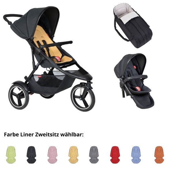 PHIL AND TEDS Dash buggy V6 butterscotch mit Cocoon und Zweitsitz