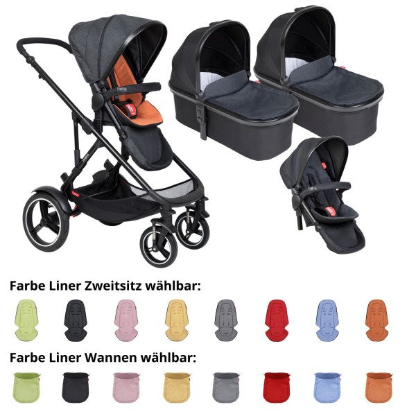 PHIL AND TEDS Voyager buggy V6 rust double mit zwei Wannen