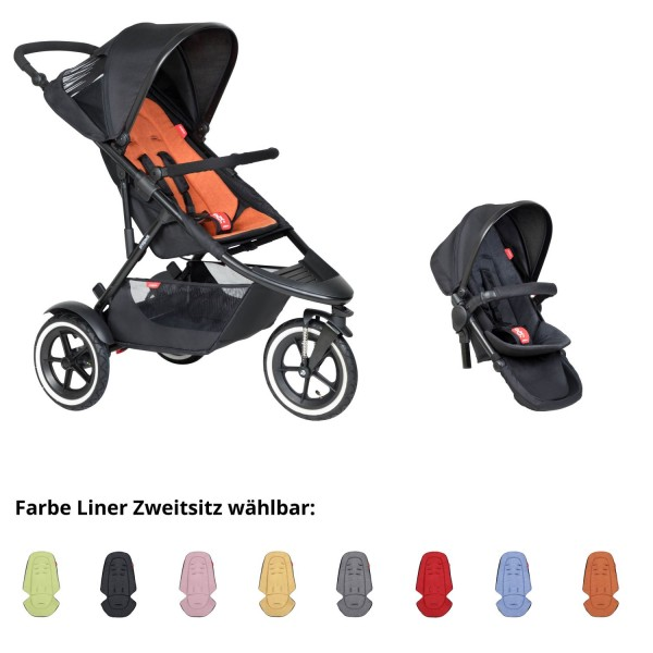 PHIL AND TEDS Sport Buggy rust mit Zweitsitz