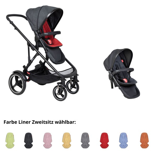 PHIL AND TEDS Voyager buggy V6 rust double mit Zweitsitz