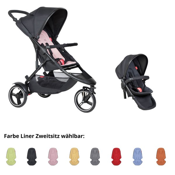 PHIL AND TEDS Dot buggy V6 blush mit Zweitsitz